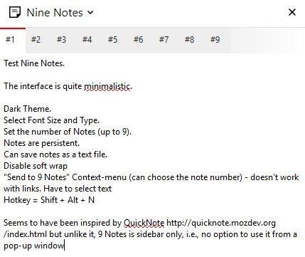 Nine Notes interface 2