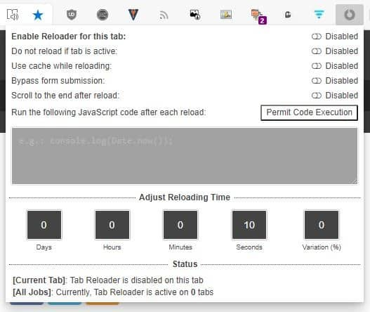 Refresh tabs automatically in Firefox and Chrome with Tab Reloader extension