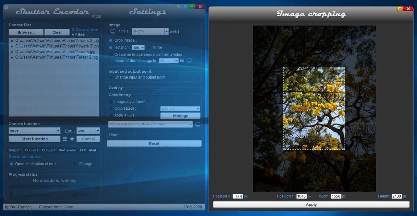 Shutter encoder image cropping