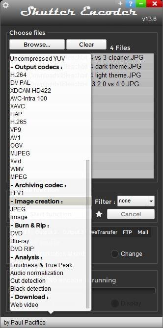 Shutter encoder menu 2