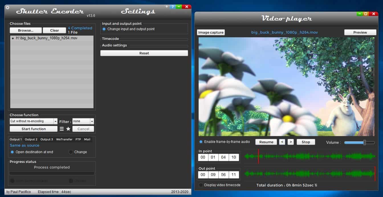 Shutter encoder video cutter