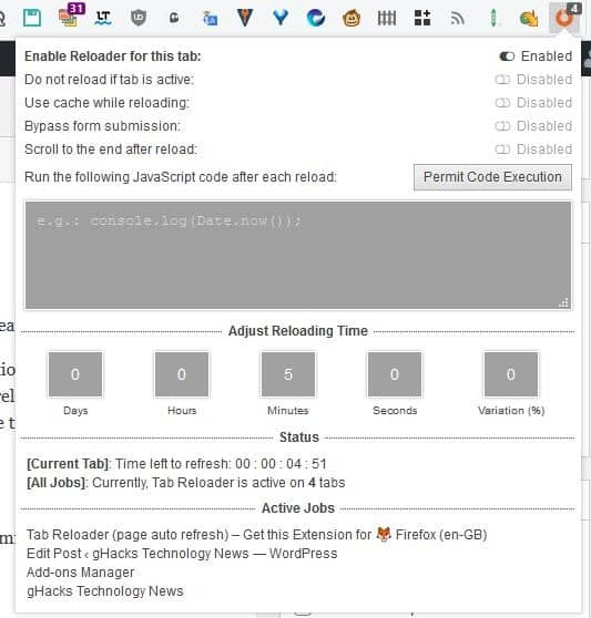 Tab Reloader timer set