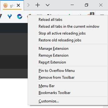 Tab Reloader toolbar icon menu