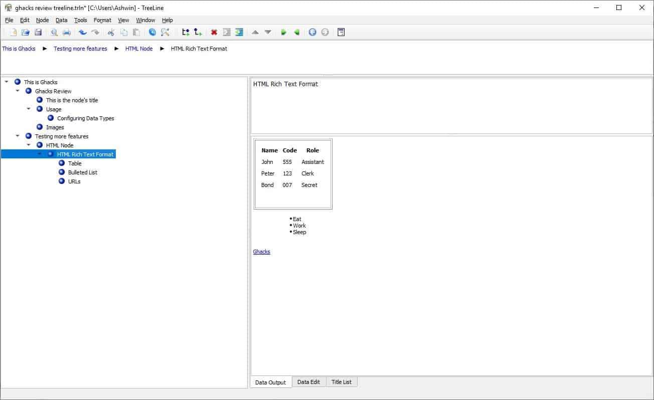 TreeLine html