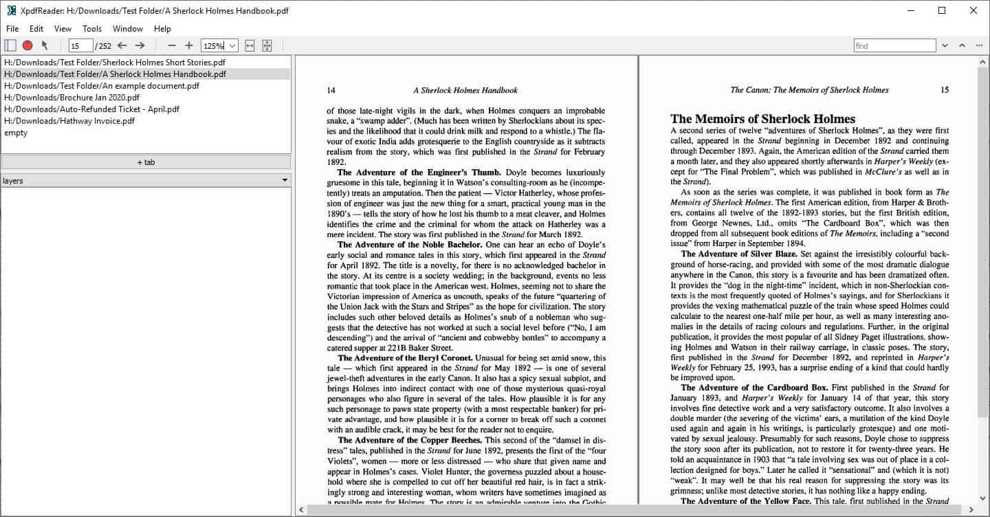 XpdfReader is an open source PDF reader for Windows and Linux