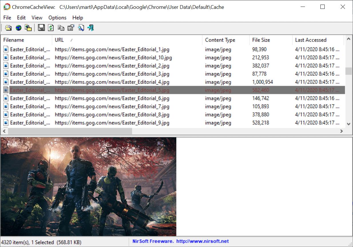 chrome cache view previews