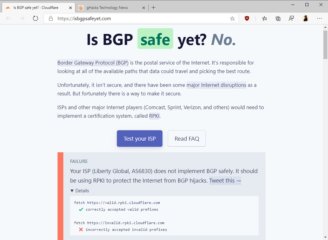 Find out if your ISP implements BGP safely