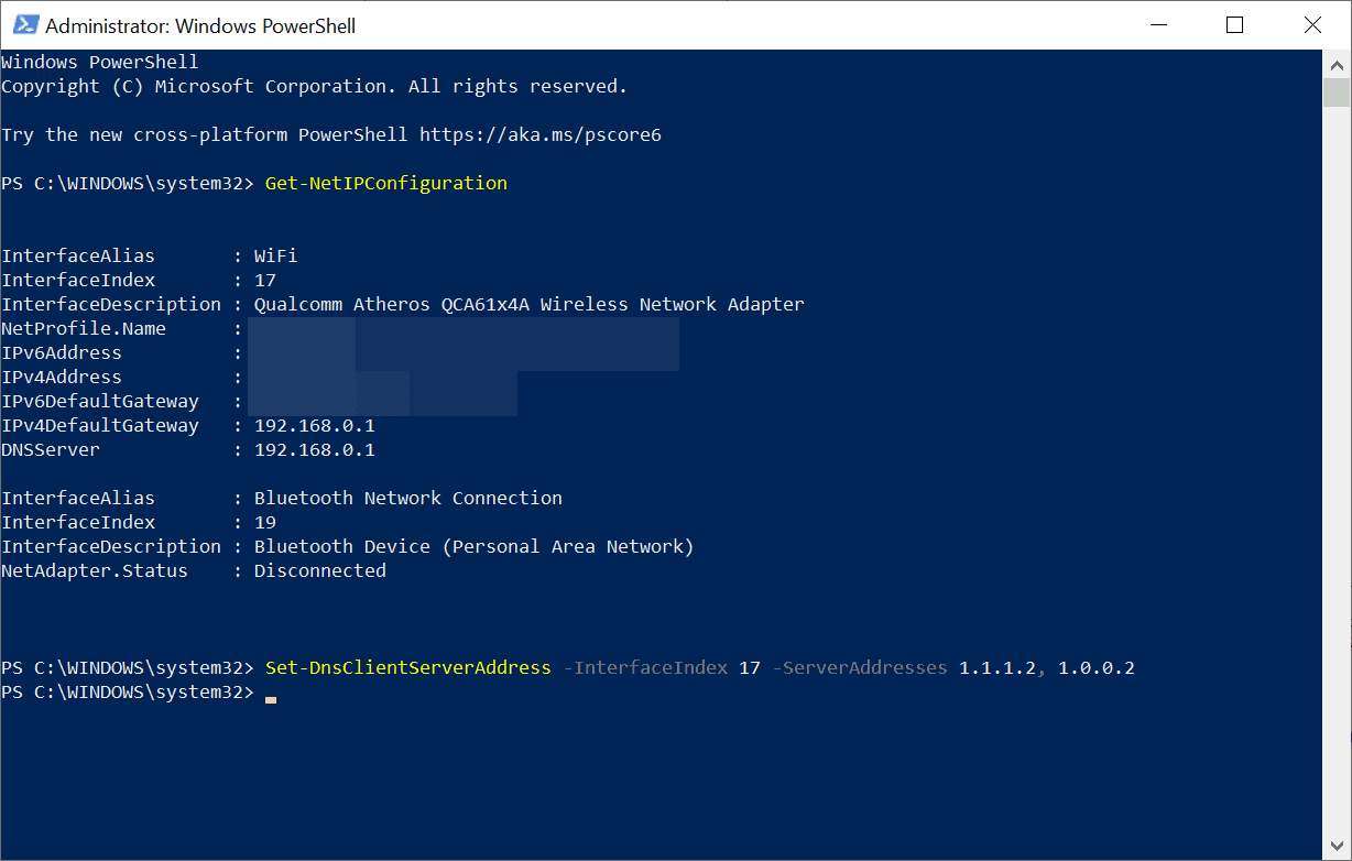 powershell change dns