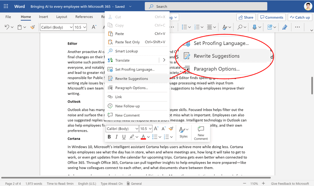 Microsoft Word supports Sentence-Level writing suggestions now