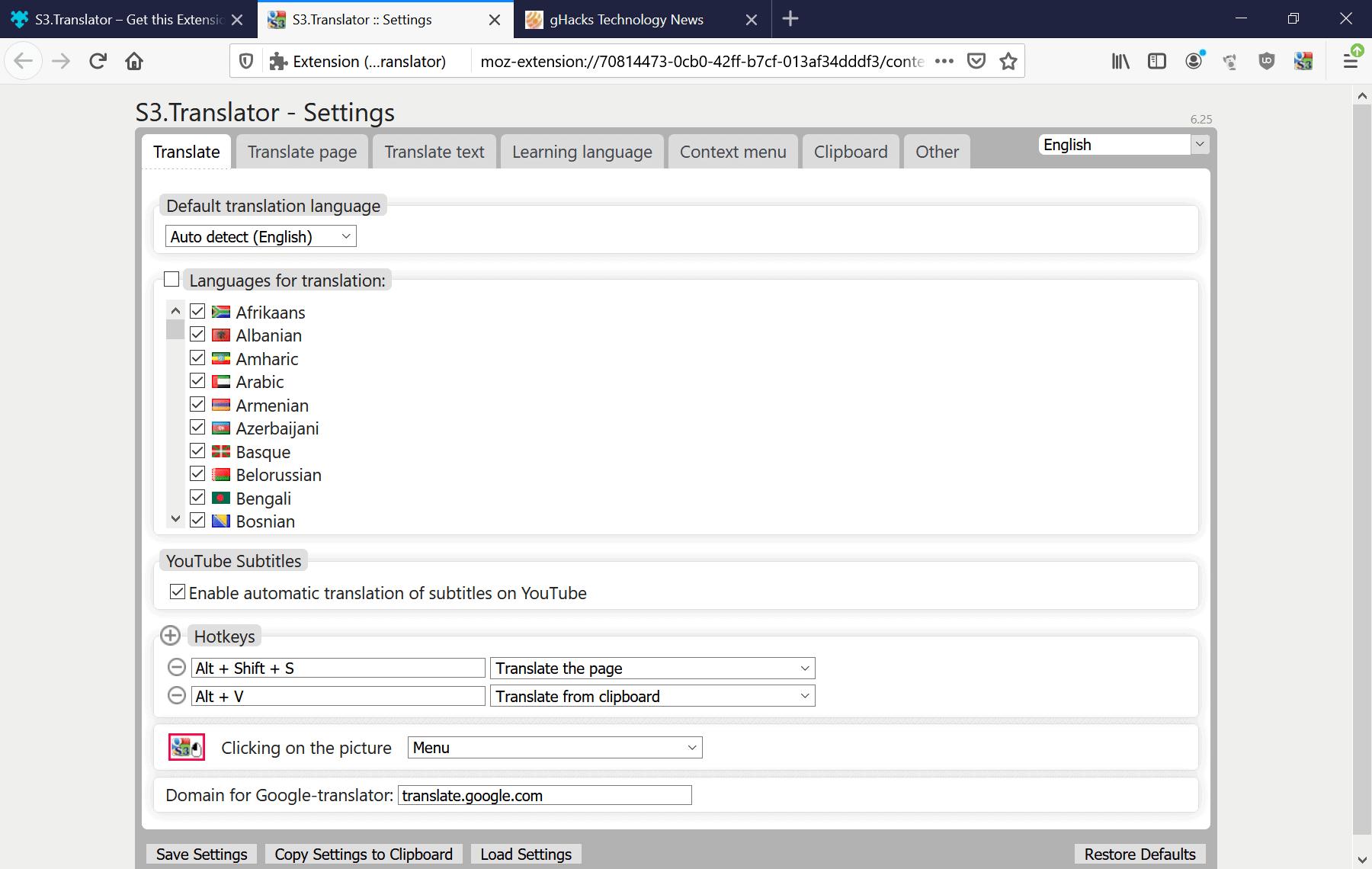 s3 translator firefox settings