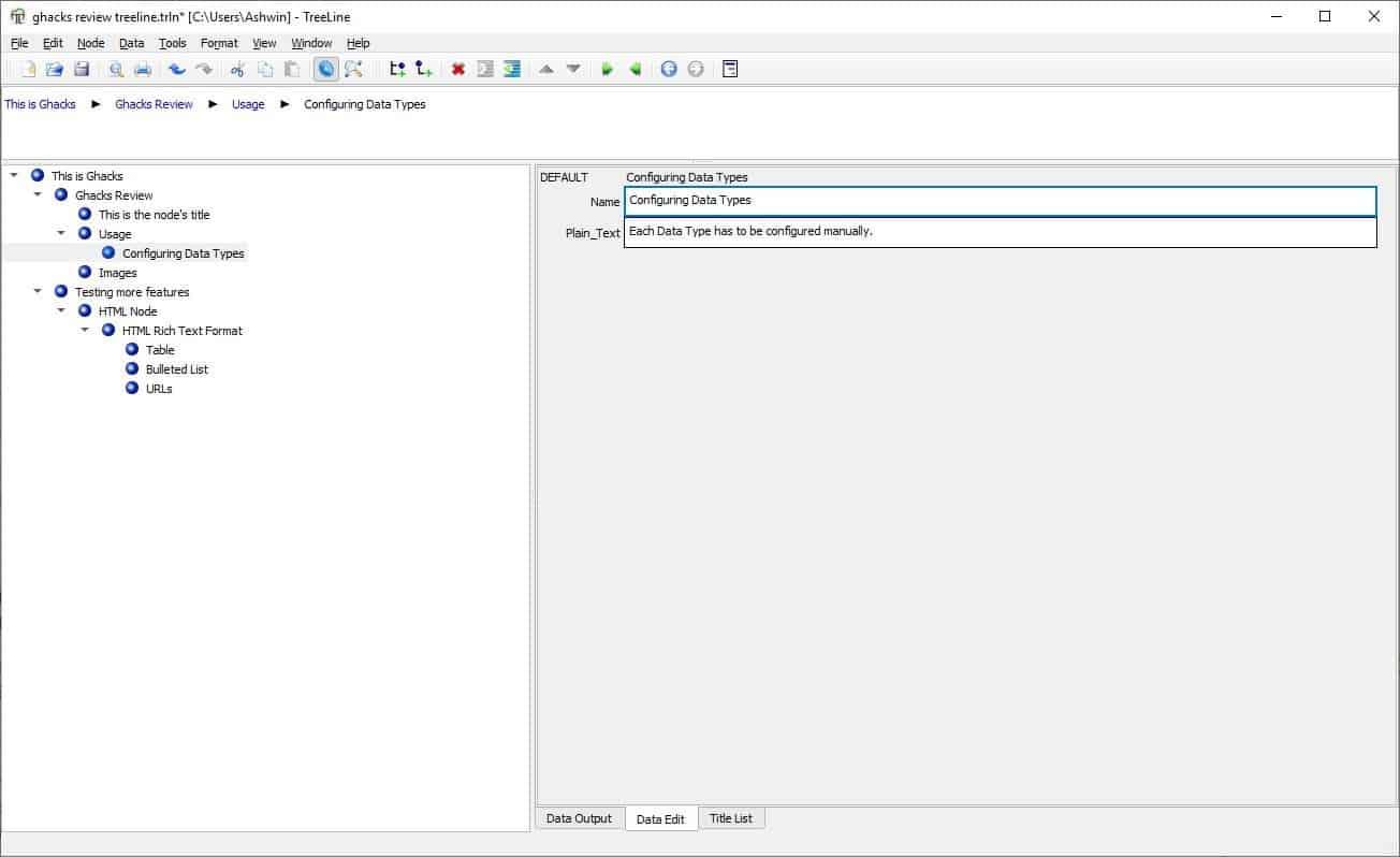 treeline custom edit