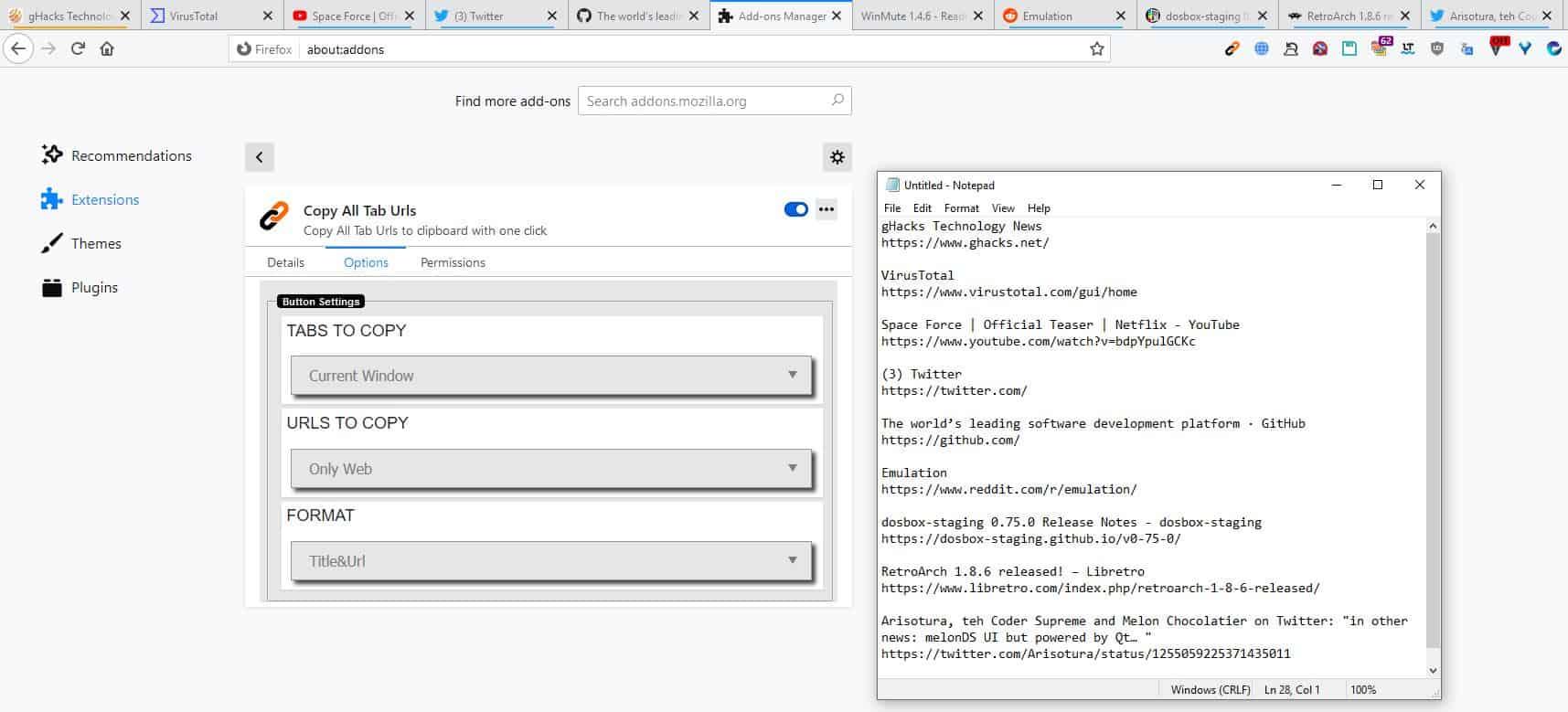 Copy All Tab URLs example