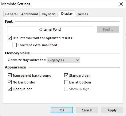 MemInfo display settings
