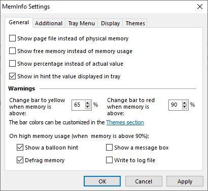 MemInfo general settings