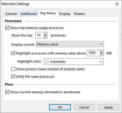 MemInfo tray menu settings