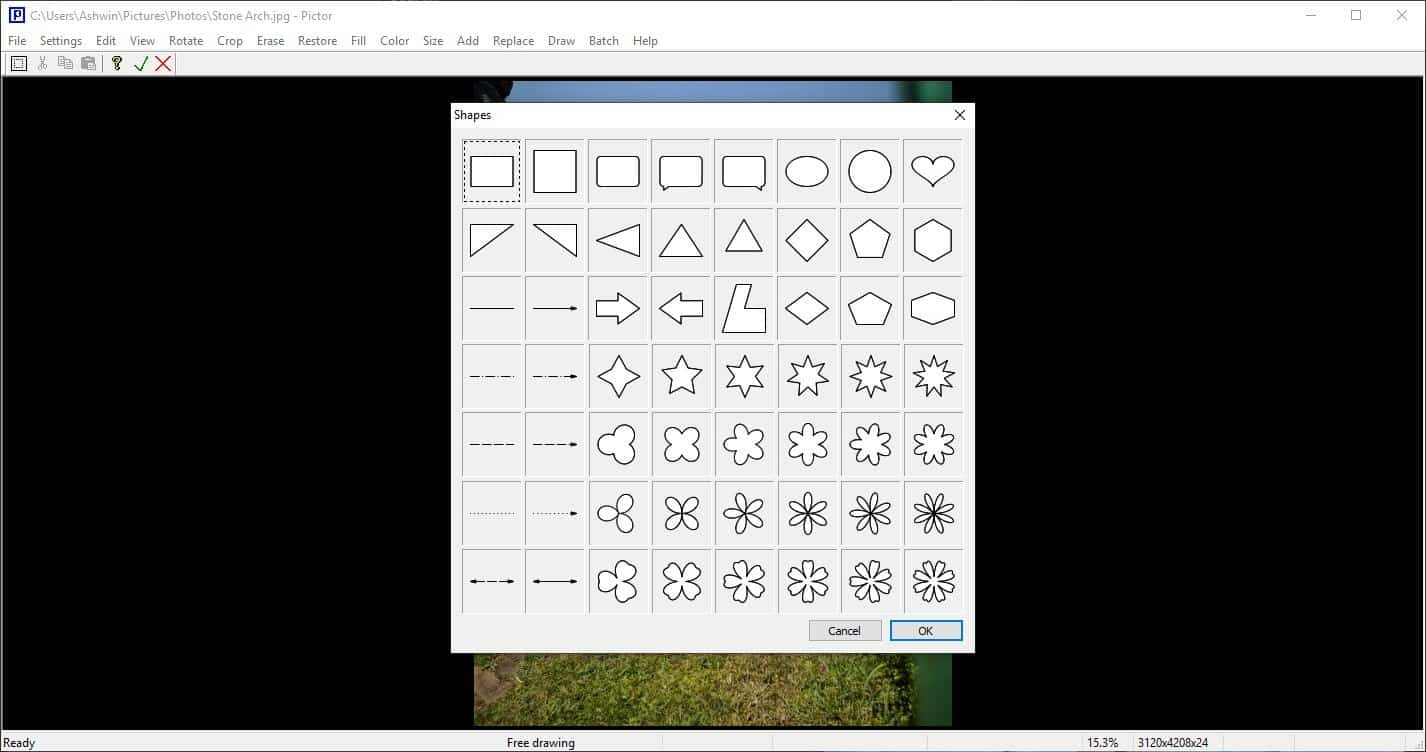 Pictor draw shapes