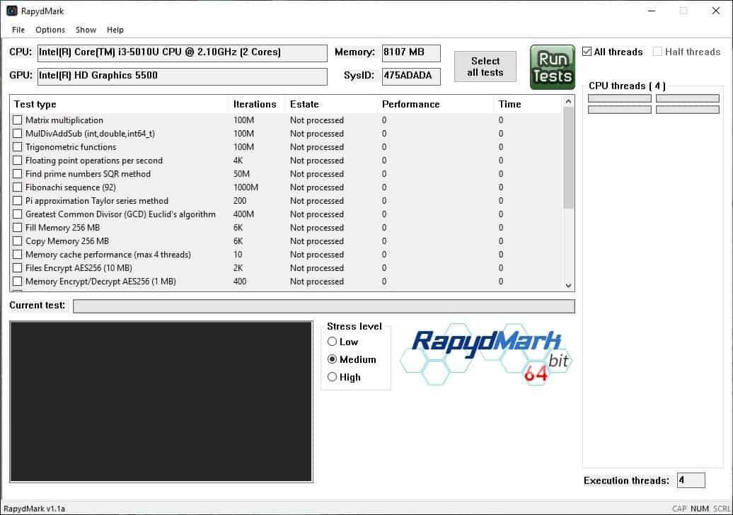 RapydMark is a portable benchmark tool for Windows