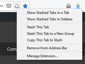 Tab Stash address bar button menu