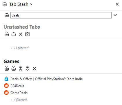 Tab Stash search
