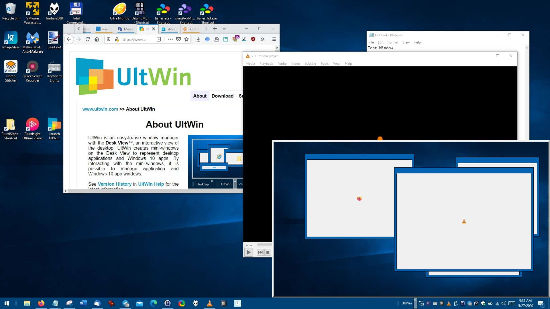 UltWin is a freeware window manager that can help you organize your desktop