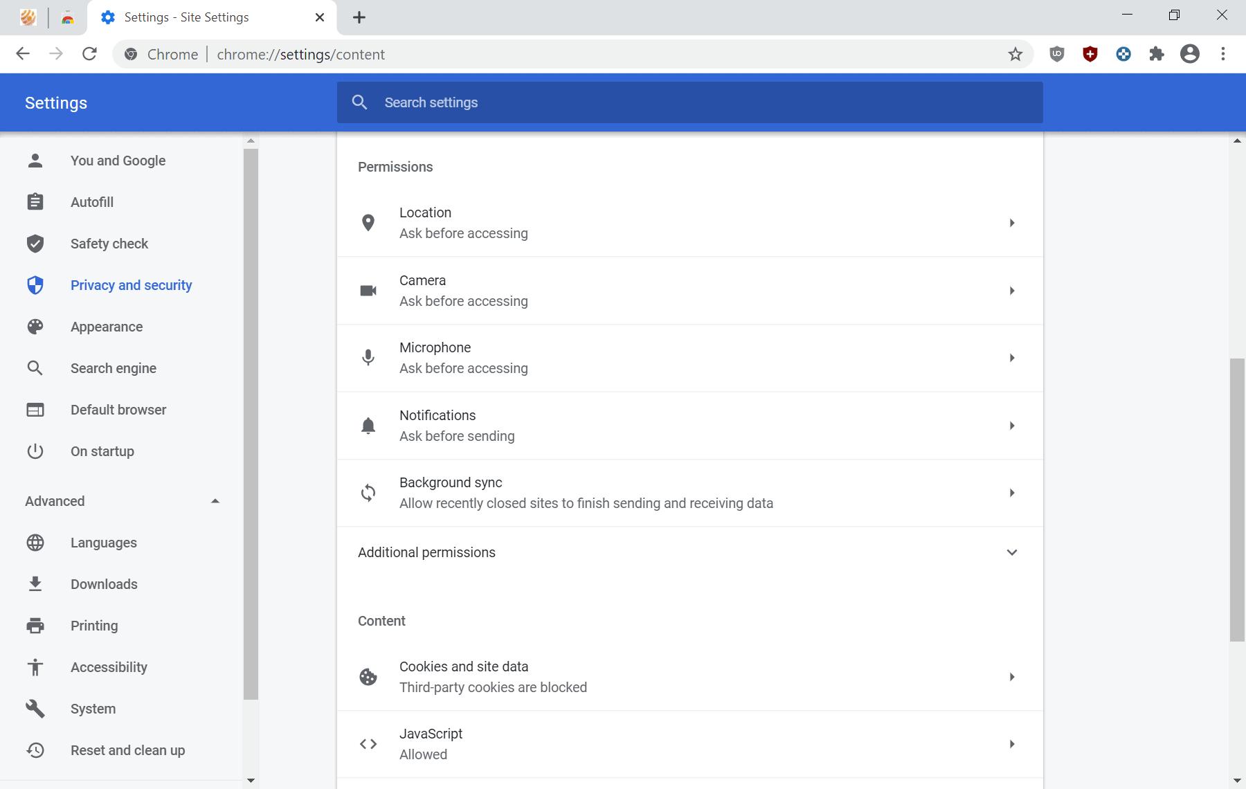 cchrome 83 site settings