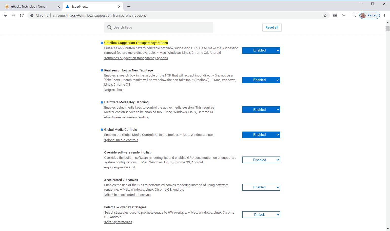 chrome omnibox transparency options