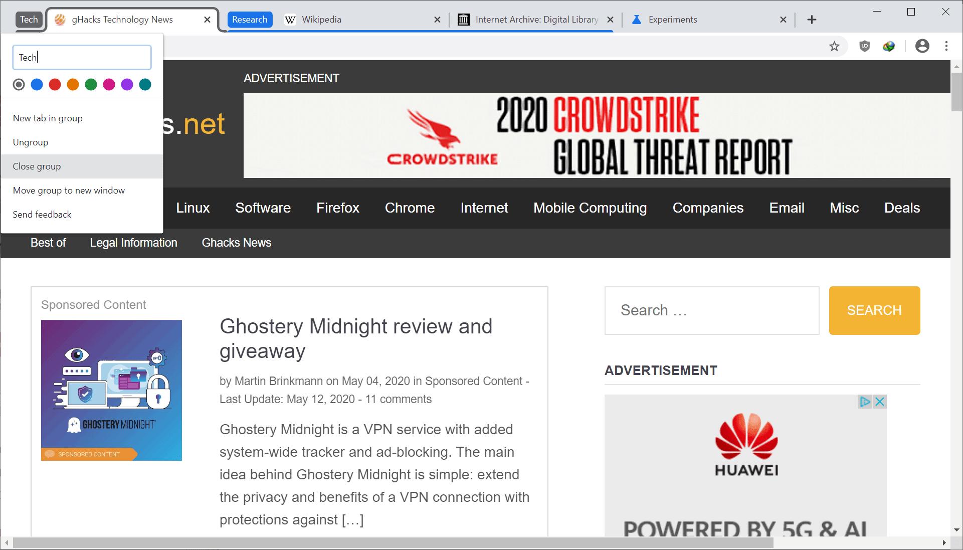 chrome tab group menu