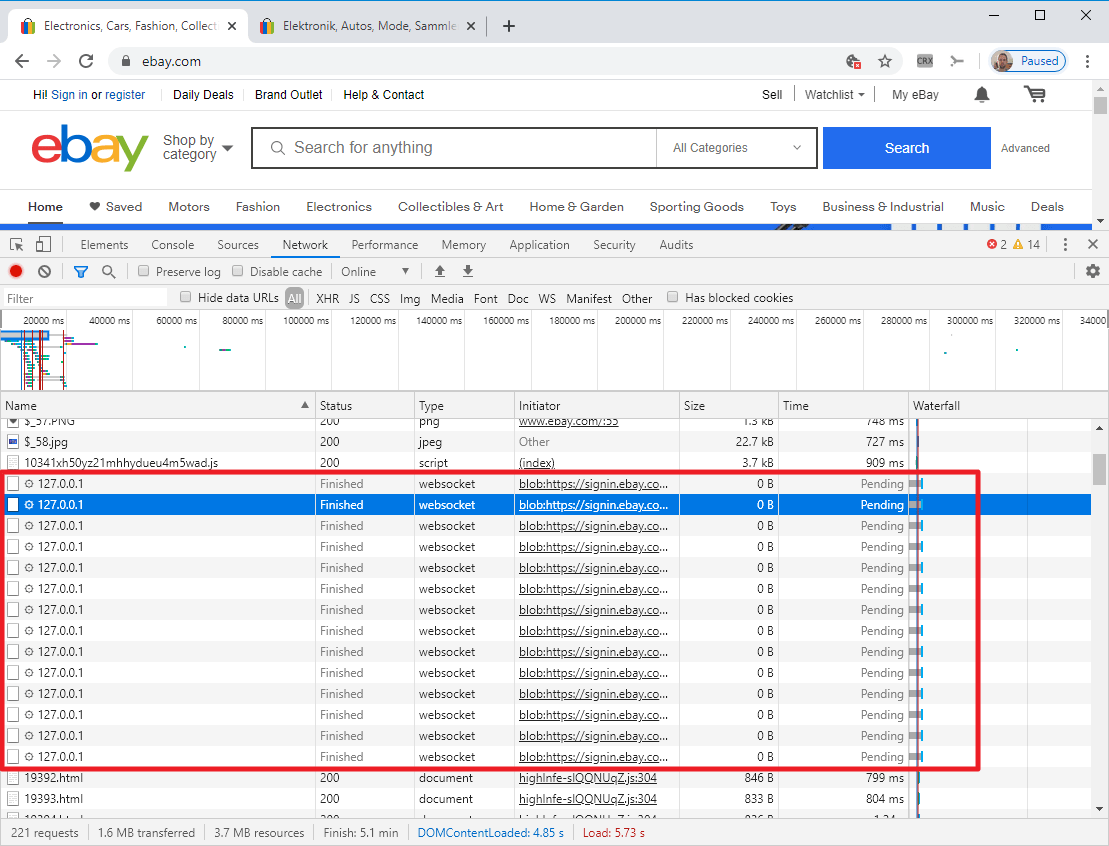 eBay is port scanning your system when you load the webpage