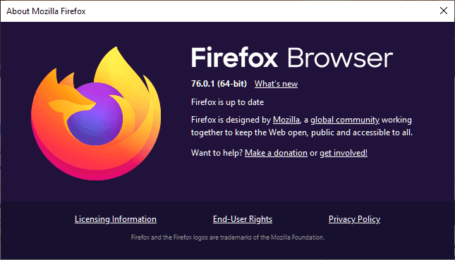Firefox 76.0.1 fixes a Windows crash and a bug in extensions