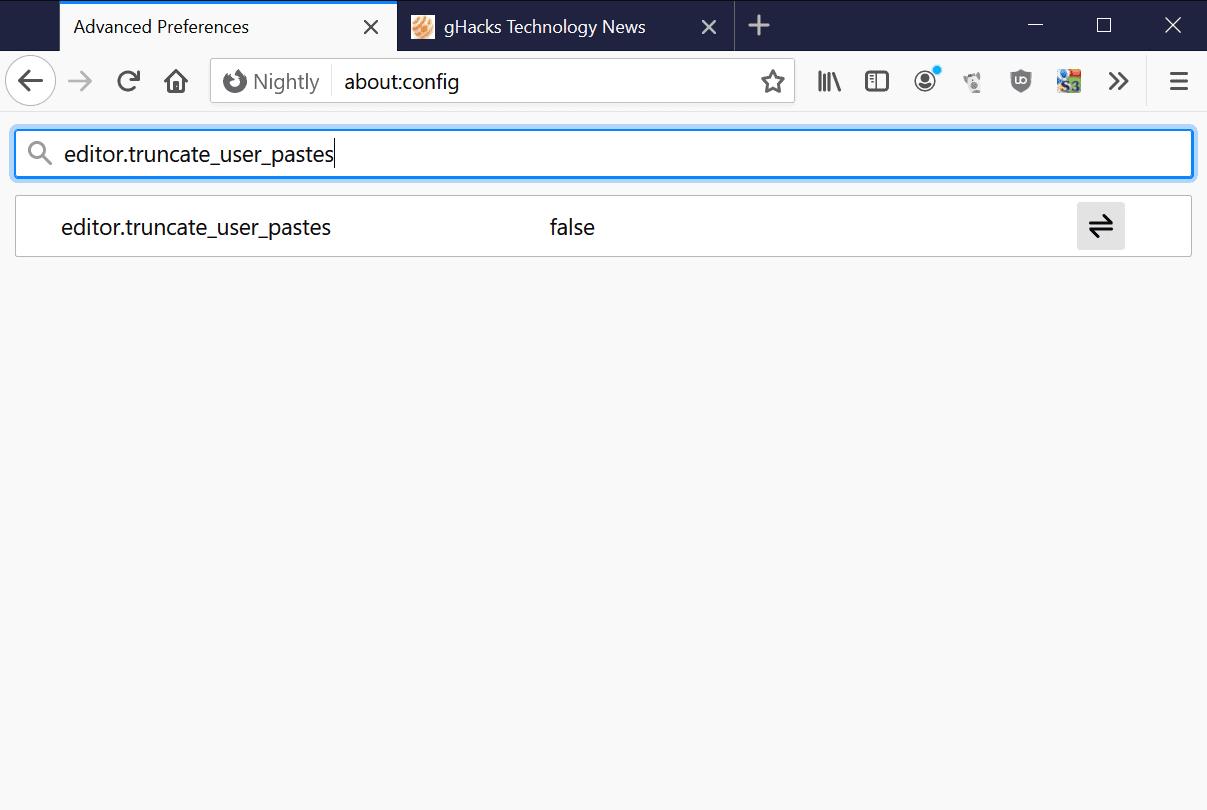 firefox editor truncate user pastes