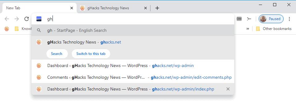 google-chrome-delete suggestions address bar