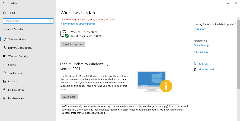 windows 10 feature update 2004