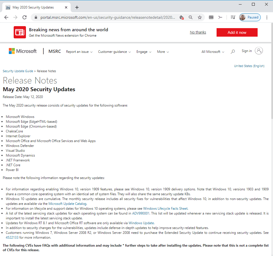 Microsoft Windows Security Updates May 2020 overview