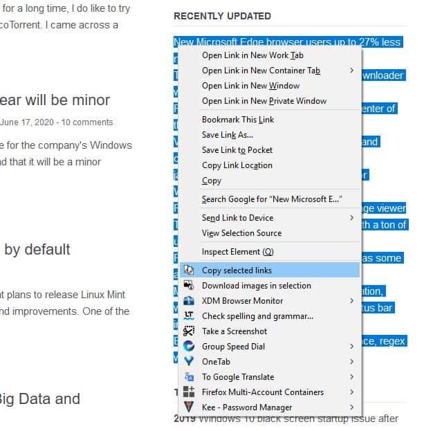 Copy Selected Links menu