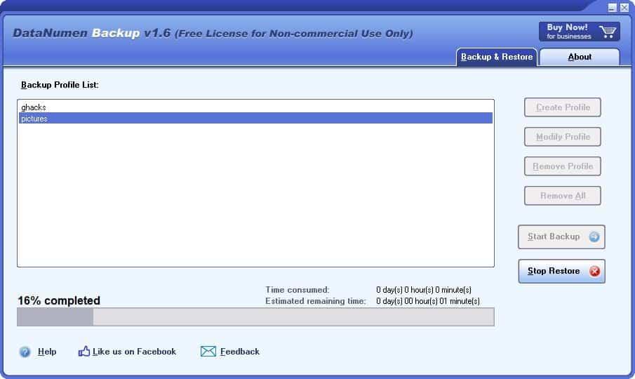 DataNumen Backup restore 3