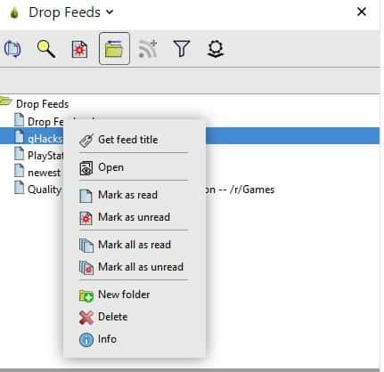 Drop Feeds manage