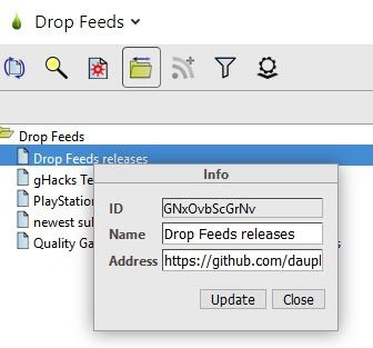 Drop Feeds menu