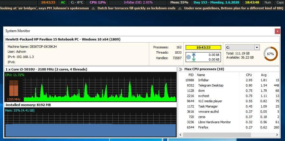 MiTec InfoBar system monitor