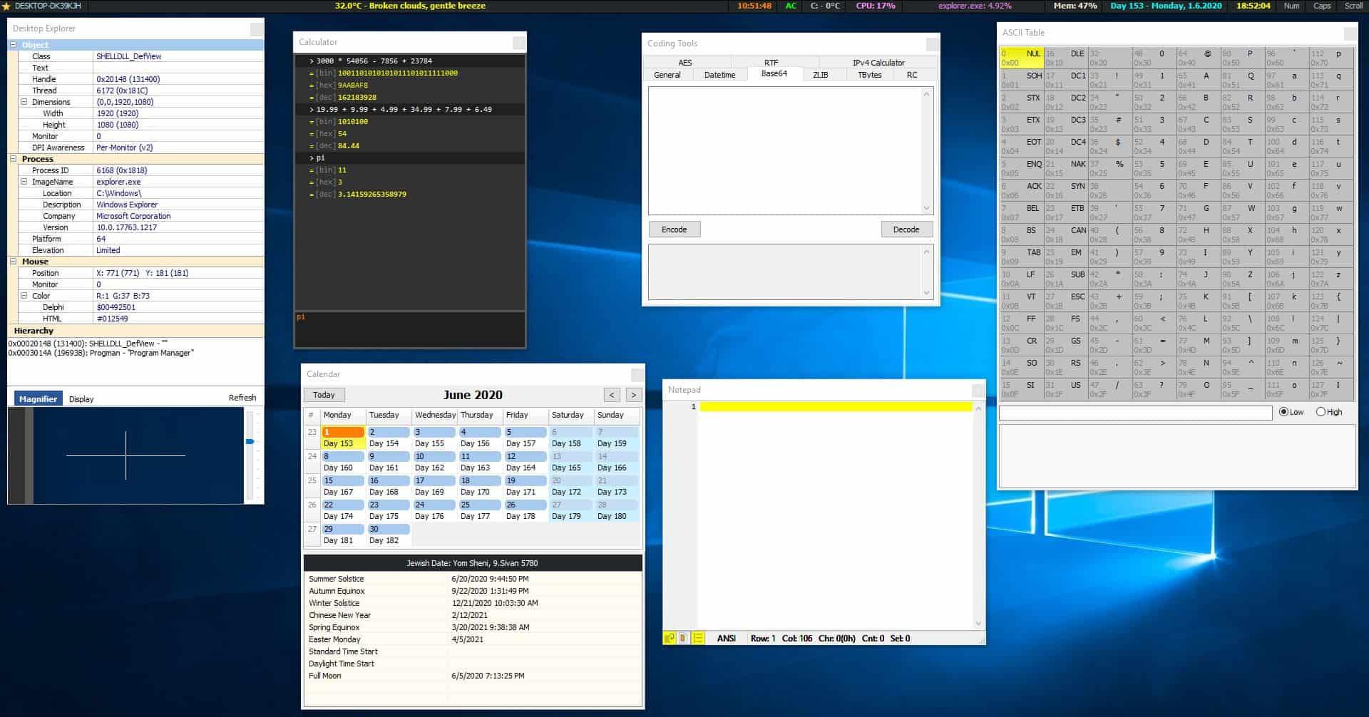 MiTec InfoBar tools
