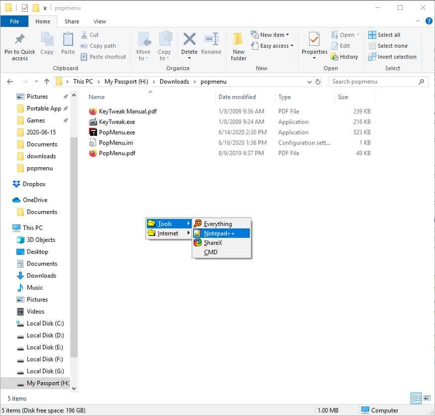 PopMenu with sub-menus 2