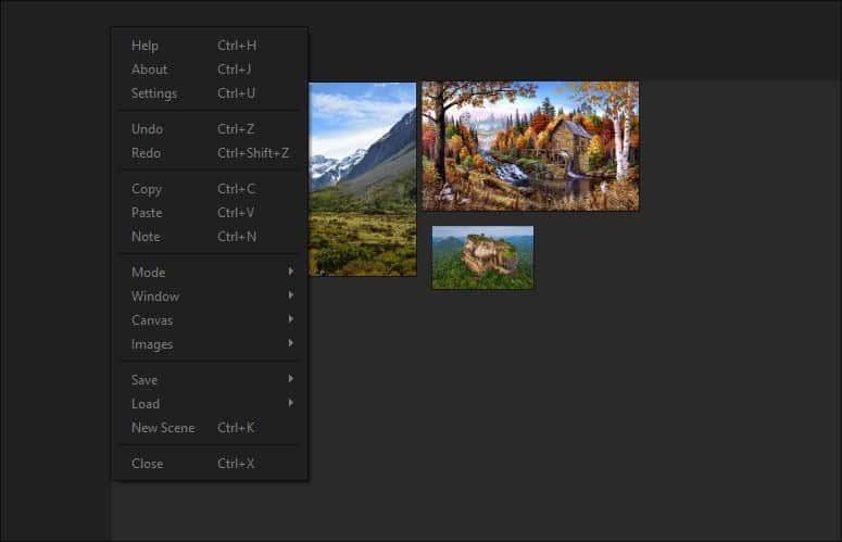 PureRef context menu