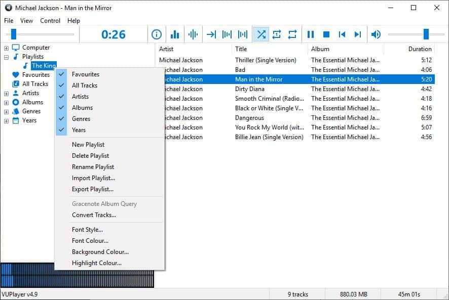VUPlayer playlist menu