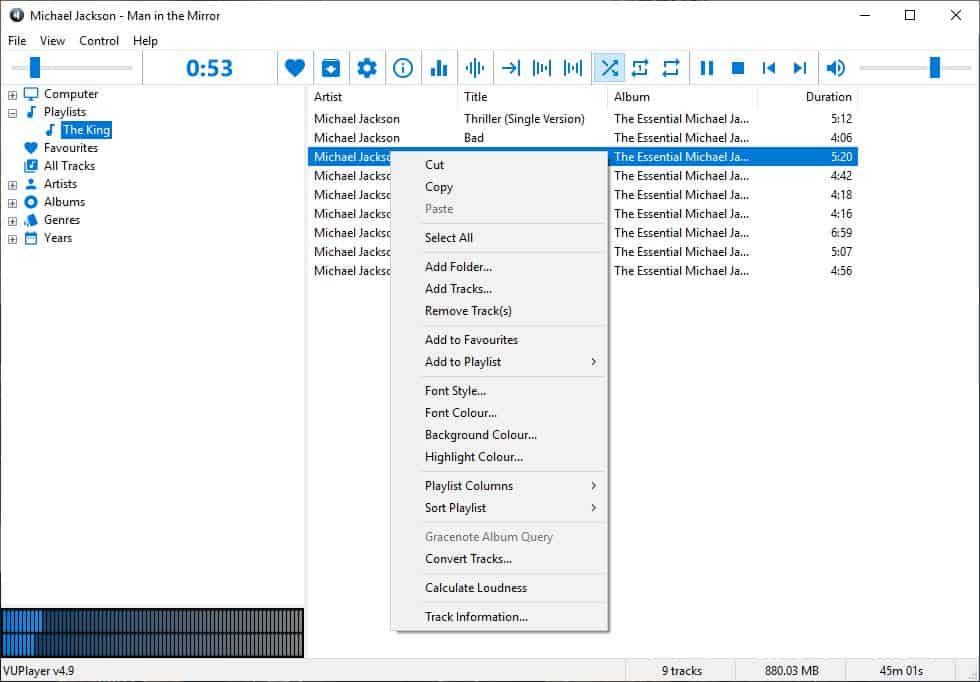 VUPlayer track menu