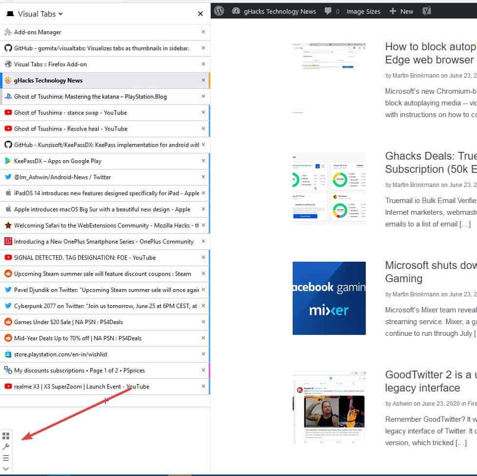 Visual Tabs menu