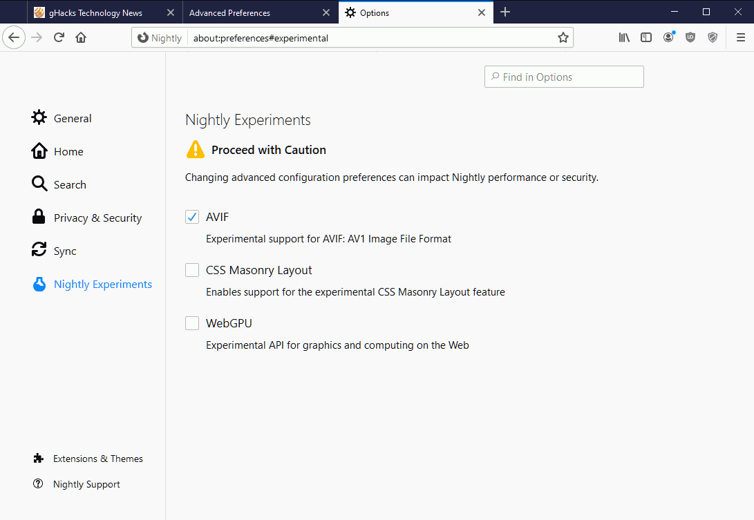 Firefox Nightly got a new secret Experiments Settings page