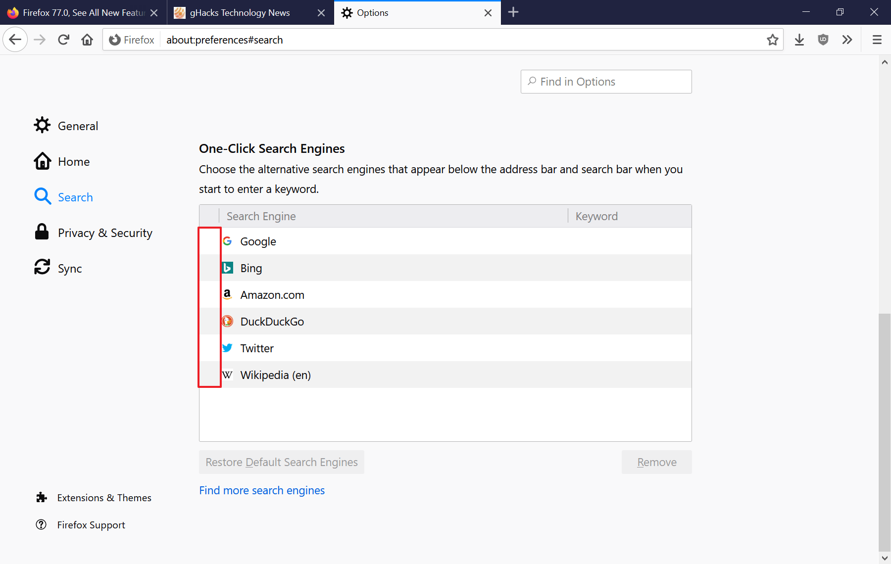firefox onoff searches