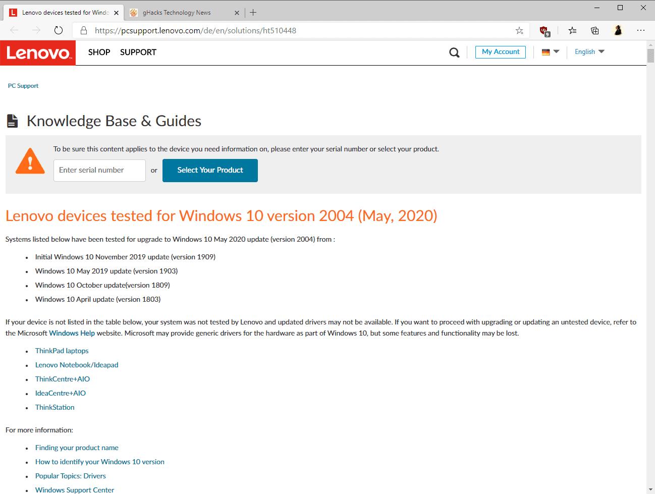 lenovo compatible windows 10 2004
