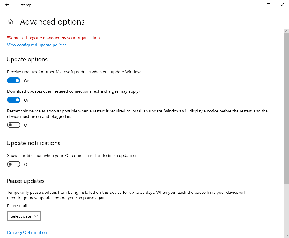 windows-10 2004 no defer updates