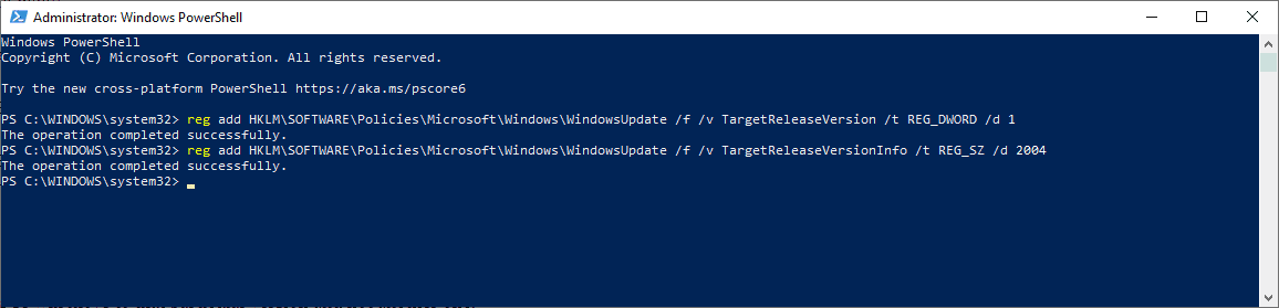 windows 10 set target feature update version