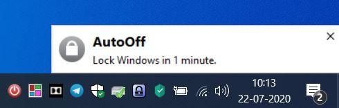 AutoOff notification toast